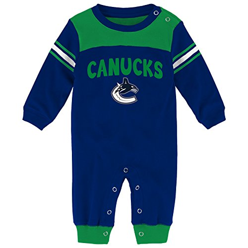 NHL Vancouver Canucks Children Boys Penalty Box Kid Long Sleeve Coverall, 6-9 Months, Dark Blue