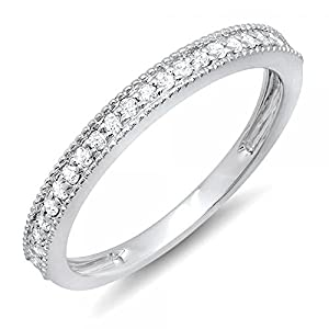 0.23 Carat (ctw) 14k Gold Round Diamond Ladies Millgrain Anniversary Wedding Stackable Band 1/4 CT