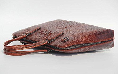 De Genuino Cocodrilo Patrón Cuero marrón Del Los Bolso de Hombres Maletín Jsix x5RzqHwYw
