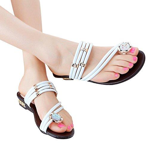 Vocni Womens Ladies Low Block Heel Diamante gem Evening Slip on Mules flip Flops Sandals Shoes Size White TNjanoy8UG