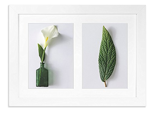 (Vista Collage Flat Picture Photo Frame for Family,11.5 ×16 inch Frame, Manu Collection, 2 Openings w Wide Mat: (2) 5 x 7 inch, Soft White )