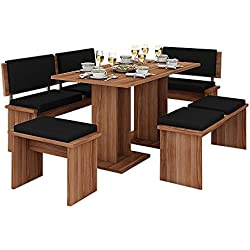 MEBLE FURNITURE & RUGS 5 Pc Breakfast Kitchen Nook Table Set, Bench Seating, Cherry with Black