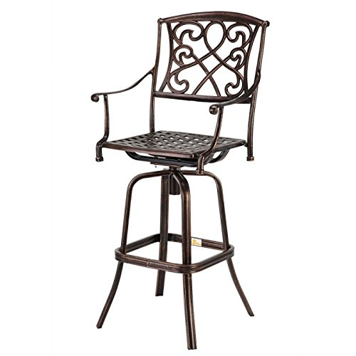 Palm Springs Copper/Wrought Iron Effect Outdoor Patio Bar Stool/Swivel Chair