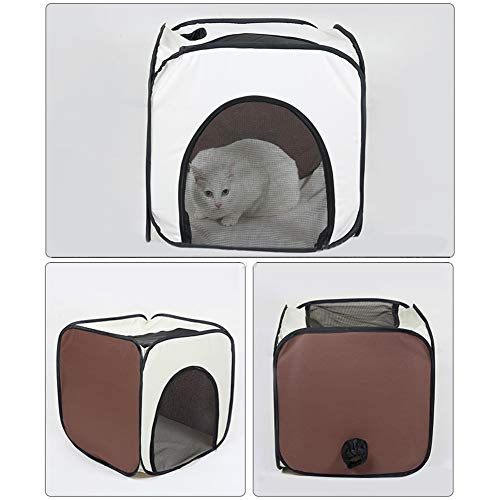 XuBa Portable Pet Hair Drying Tent Traveling Pet Cleaning Dry Bag Foldable Cage for Dog Cat Beige + brown Small