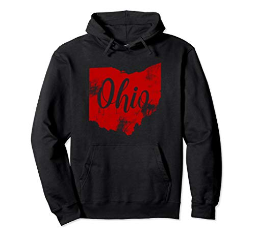 Ohio Vintage Retro Hooded Sweatshirt Red Ohio