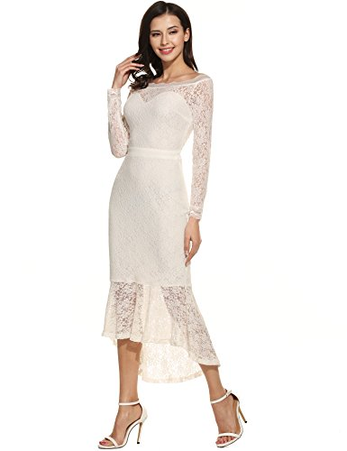 ANGVNS Women's Mermaid Dress Off Shoulder Long Sleeve Sheer Floral Lace Formal Evening Party Midi Dress (White, Small)