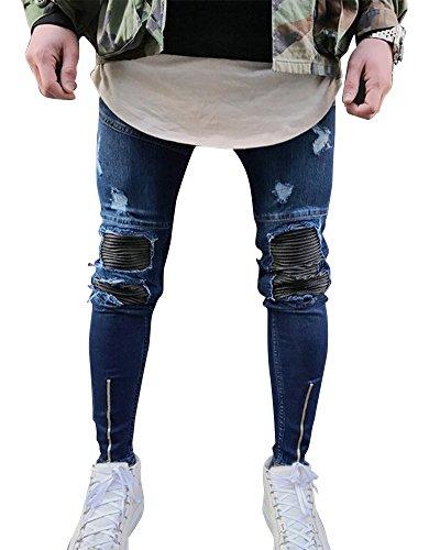 Hombre Elásticos Cómodos Jeans Slim Fit Denim vaqueros Destruido Rotos Tapered Tejanos Pantalón 27azul