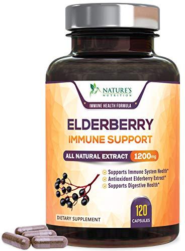 Elderberry Capsules Extra Strength Immune Support 1200mg - Cold Relief, Max Potency Black Elderberry Extract, Sambucus Nigra Antioxidant Supplement Pills by Nature's Nutrition - 120 Veggie Capsules
