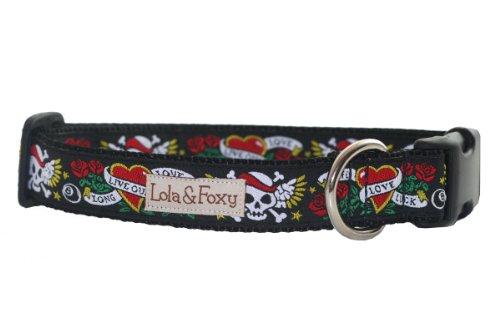 Lola & Foxy Black Tattoo Dog Collar, X-Large