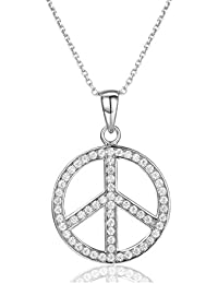 925 Sterling Silver Peace Sign Pendant Full Cubic Zirconia Jewelry Peace Symbol Necklace Meaningful Gifts
