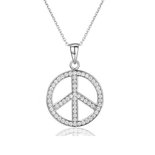 925 Sterling Silver Peace Sign Pendant Full Cubic Zirconia Jewelry Peace Symbol Necklace Meaningful (Cubic Zirconia Peace Necklace)