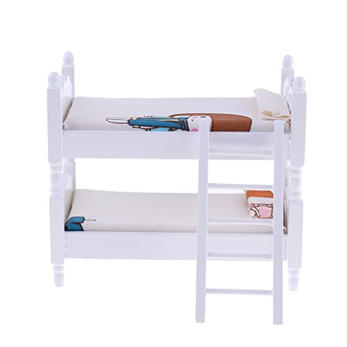 Homyl 1:12 Dollhouse Miniature Furniture Cute Girl Bunk Bed Bedroom Accessories by Homyl