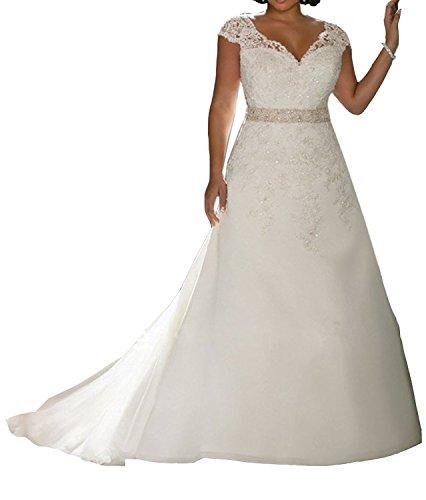 Elley Women's V-Neck Lace Applique Beading Sleeveless Plus Size Wedding Dress White ()