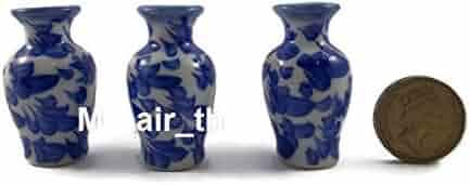 Mr_air_thai_Miniature Lot of 3 Miniatures Ceramic Dollhouse Furniture Antique Vase Vintage Chinese Pot Jar