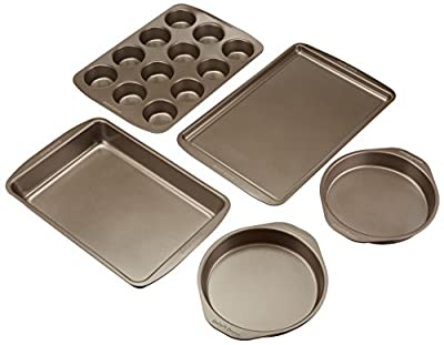 Baker's Secret 5-Piece Easy Store Bakeware Set Non Stick