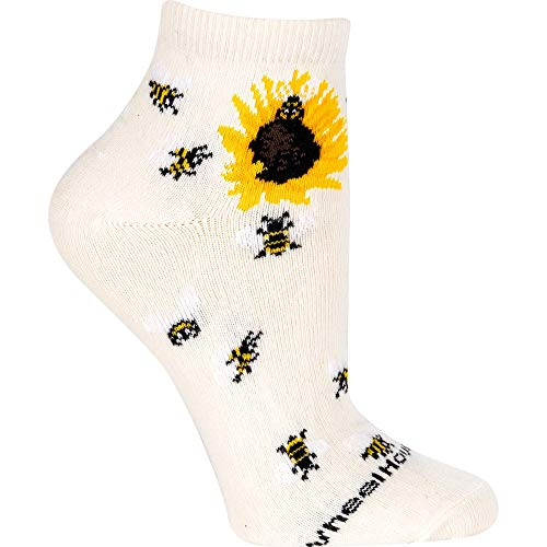 (Bumblebees Sunflower Natural Tan 9-11 Cotton Blend Fabric Anklet Novelty Socks)
