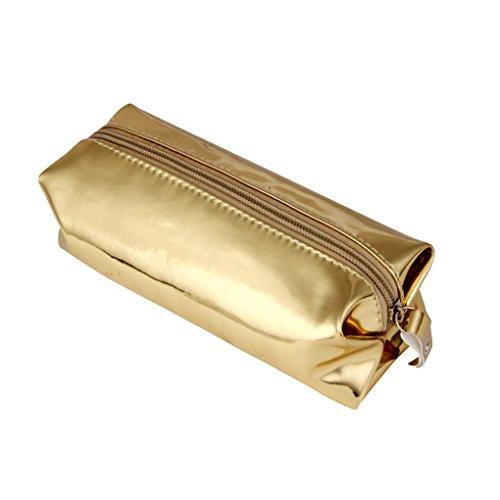 Cosmetic Bag, Mchoice Fashion Hologram Pencil Case Pen Holder Makeup Boxes Zipper Comestic Storage Bag (Gold)