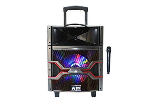 EMB PKL101PRO 1000W 10 Woofer w/ Colorful LED Lights - 7 Hours Battery - Rechargeable Trolley Portable Speaker System Built-in Bluetooth/SD/MMC/USB - MP3/WAV/WMA Playable +Wireless Microphone