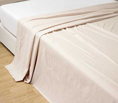 Grand Linen California CAL KING size, IVORY Solid Flat Bed Sheet -Super Silky Soft -SALE -High Thread Count-Double Brushed Microfiber -1500 Series-Wrinkle, Fade, Stain Resistant, 100%