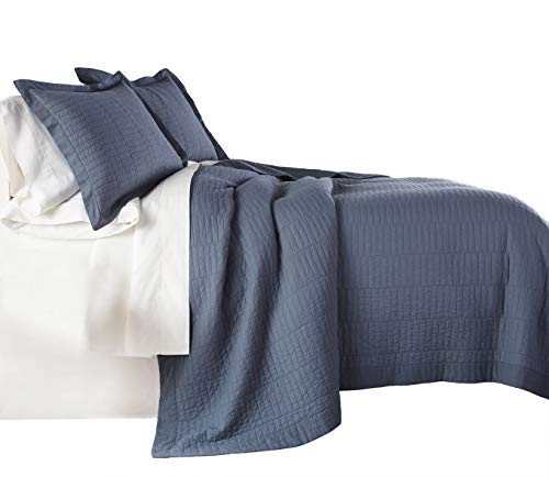 Chezmoi Collection Yuma 3 Pieces Modern 100%-Cotton Pre-Washed Soft-Finished Quilt Set (King, Blue) (Cotton Quilt Size King)