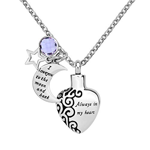 Jesse Ortega Moon Star 12 Colors Birthstone Cremation Jewelry Urn Necklace of Ashes Keepsake Memorial Stainless Steel Pendant Necklace (June) ()