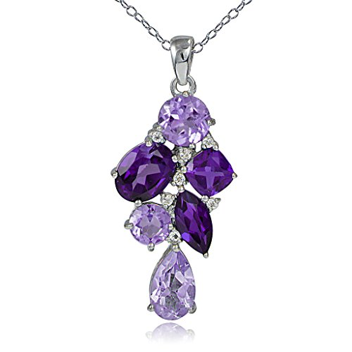 Sterling Silver African Amethyst and White Topaz Tonal Cluster Necklace