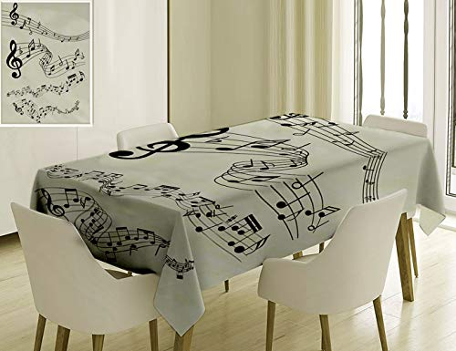 Nalagoo Unique Custom Cotton and Linen Blend Tablecloth 7 Black Musical Notes Symbols Clip Art White BackgroundTablecovers for Rectangle Tables, 60 x 40 Inches]()