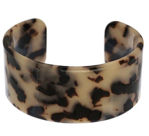 Tortoise Shell Resin Cuff Bangle Bracelet 1.25 inch Wide Beige & Black