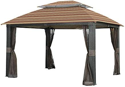 Garden Winds Replacement Canopy for The Revella Gazebo – Standard 350 – Stripe Canyon