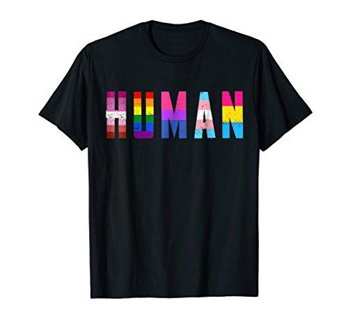 HUMAN Flag LGBT Gay Pride Month Transgender T Shirt