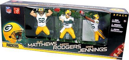 McFarlane Toys Green Bay Packers NFL 3-Pack (Aaron Rodgers, Clay Matthews and Greg Jennings)
