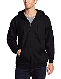 Hanes Men\'s Full Zip Ultimate Heavyweight Fleece Hoodie, Black, Medium