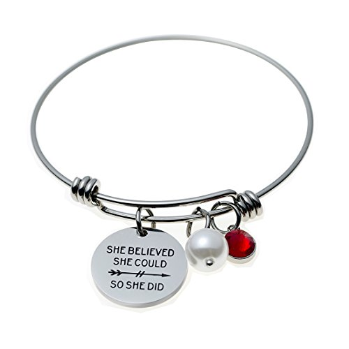 [Jewelady Stamped Inspirational Message Charm Bracelet Stainless Steel Expandable Wire Bangle (She Believed She could So She Did)] (Expandable Stainless Steel Bracelet)
