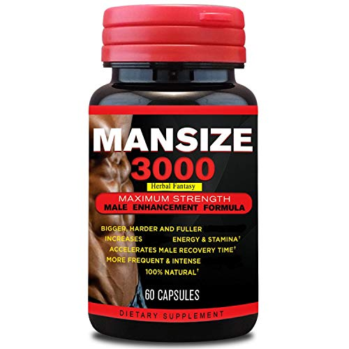Mansize 3000 Male Enlarger XL Performance Amplification Supplement - Male Testosterone Booster - Natural Stamina, Endurance, Strength Booster Male Growth Pills - Mood Enhancer 60 Veggie Capsules