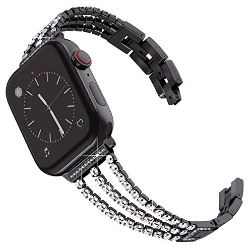 Surace Metal Band Compatible for Apple Watch Band 38mm 40mm Stainless Steel Band for Women Wristband Strap Cuff Bangle Bracelet with Diamond Replacement for iWatch Series 4 3 2 1 Black (Sparkling Bracelet Diamonds)