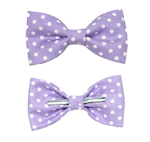 Boys Purple With White Dots Clip On Bow Tie