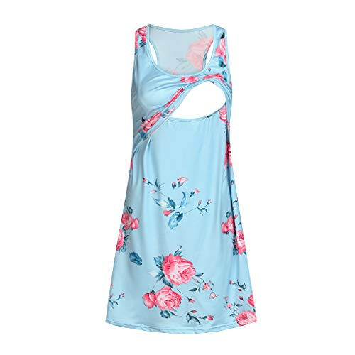 Women's Sleeveless Maternity Dress Empire Waist Nursing Breastfeeding Dress