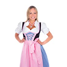 Bavarian Women's Midi Dirndl dress 3-pieces with apron and blouse pink blue checkered