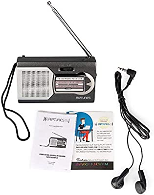 Riptunes AMFM Portable Battery Operated Pocket Radio Powered by 2 AAA Batteries Black