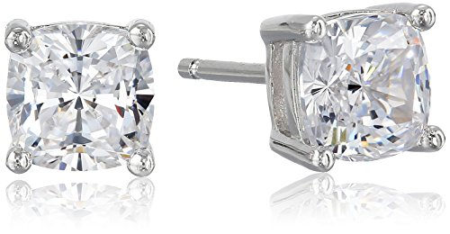 Platinum Plated Sterling Silver Cubic Zirconia Cushion Cut 6mm Stud Earrings (2 cttw) Cubic Zirconia Platinum Earrings