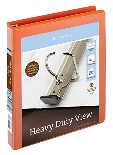 Office Depot Brand Heavy-Duty Easy Open D-Ring View Binder, 1 Rings, 60% Recycled, Orange