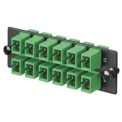 Panduit FAP12WAGSCZ Single-Mode 12-Port Fiber Adapter Panel with Zirconia Ceramic Split Sleeve, Green by Panduit
