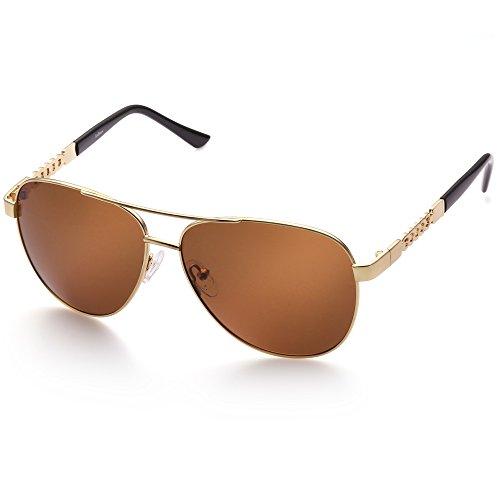 Aviator Sunglasses for Women, Polarized Brown Lens, Trendy Gold Metal Frame, UV Protection, FDA Approved