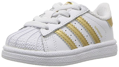 (adidas Originals Baby Superstar I Running Shoe, White/Gold Metallic/Blue, 4 M US Infant)
