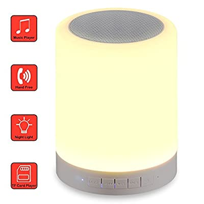 Best Cheap Deal for LED Night Lamp, Geekercity Portable Smart LED Night Light + Wireless Bluetooth Speaker, Support Hands-Free Speakerphone, TF Card, AUX Input Music Player [Night Light for Kids] (White) by Geekercity - Free 2 Day Shipping Available