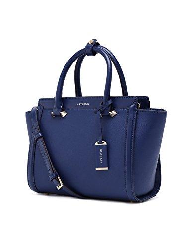LA'FESTIN Genuine Leather Bag for Women 2017 Fashion Top Handle Handbags (Blue) ()