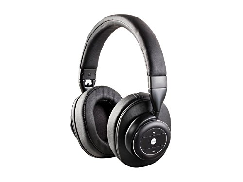 Monoprice SonicSolace Active Noise Cancelling Rechargeable Bluetooth Wireless Over Ear Headphones - Black 16 Hours of Audio Playback for Apple iPhone Android Smartphone Samsung Galaxy Tablet MP3