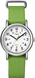 Timex Women's T2N835 Weekender Mid-Size Slip Thru Strap Nylon Green Watch