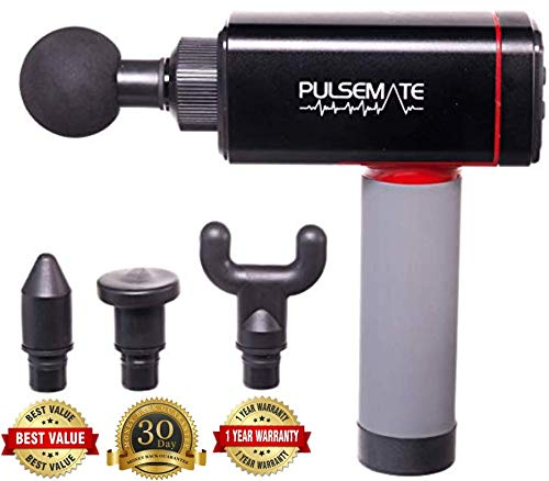 Great Variable Speed Massager Massage Gun – PULSEMATE Quiet Technology – Professional Deep Tissue Massager for Muscle Tension Relief with 4 Variable Speeds & Custom Travel Case Included 2019