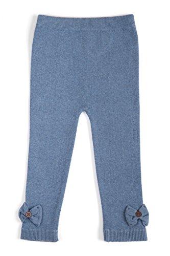 EMEM Apparel Unisex Boys Girls Baby Toddler Medium Weight Seamless Cotton Full Ankle Length Leggings with Bows Heather Blue (Denim) 18-24 Months
